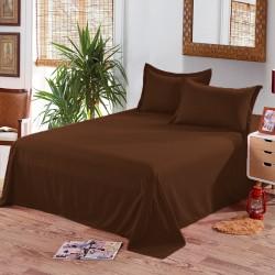 Едноцветен долен чаршаф от 100% памук - ТЪМНО КАФЯВО от StyleZone