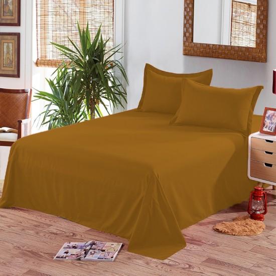 Едноцветен долен чаршаф от 100% памук - ТЮТЮНЕВО КАФЯВО от StyleZone