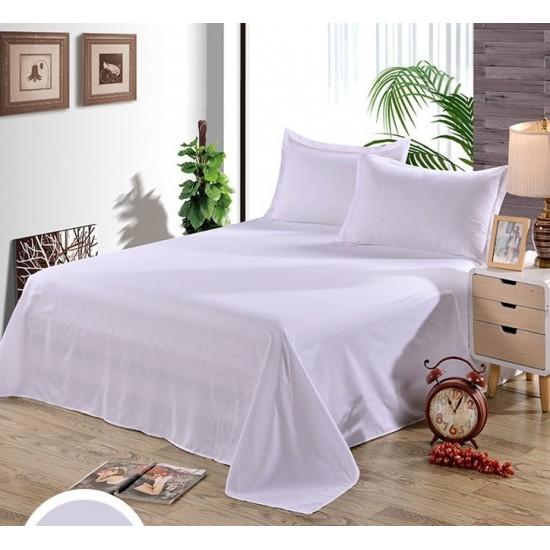 Едноцветен долен чаршаф от 100% памук - БЯЛО от StyleZone