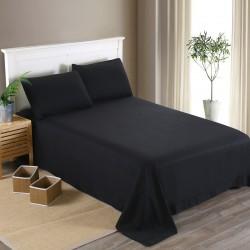 Едноцветен долен чаршаф от 100% памучен сатен - ЧЕРНО от StyleZone