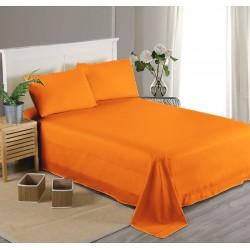 Едноцветен долен чаршаф от 100% памучен сатен - ОРАНЖЕВО от StyleZone
