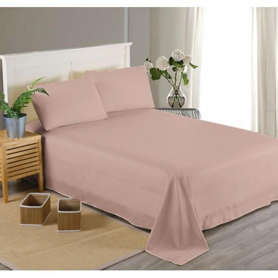 Едноцветен долен чаршаф от 100% памучен сатен - ПЕПЕЛ ОТ РОЗИ от StyleZone