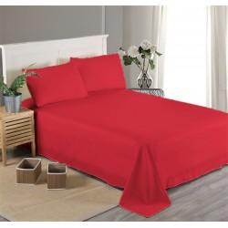 Едноцветен долен чаршаф от 100% памучен сатен - ЧЕРВЕНО от StyleZone