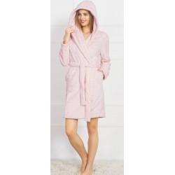 Домашен розов халат на точици - полар от StyleZone