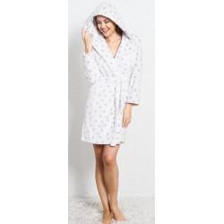 Домашен бял халат на сърчица - полар от StyleZone