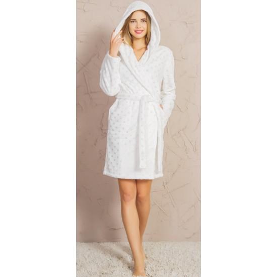 Домашен бял халат на точици - полар от StyleZone