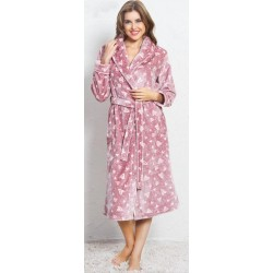 Домашен розов халат на сърчица - полар от StyleZone