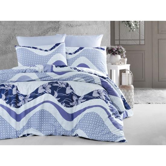 Лимитирана колекция спално бельо от 100% памук - WAVE LACIVERT от StyleZone