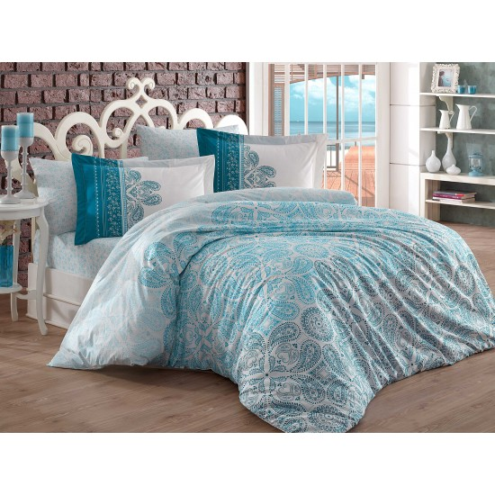 Луксозно спално бельо от 100% памук поплин - IRENE TURKUAZ от StyleZone