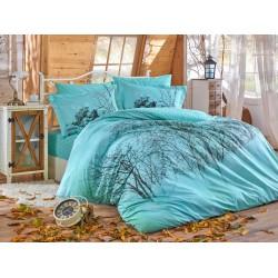 Луксозно спално бельо от 100% памук поплин - MARGHERITA TURKUAZ от StyleZone
