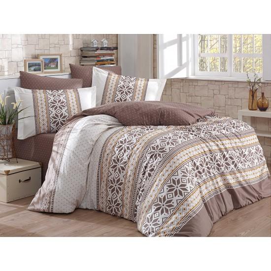 Луксозно спално бельо от 100% памук поплин - CARLA KAHVE от StyleZone