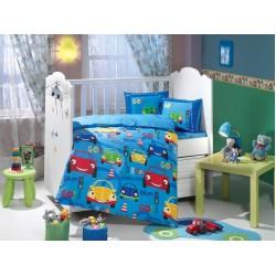 Бебешко спално бельо от 100% памук поплин - CARS MAVI от StyleZone