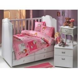 Бебешко спално бельо от 100% памук поплин - CITY GIRL PEMBE от StyleZone