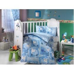 Бебешко спално бельо от 100% памук поплин - LITTLE SHEEP MAVI от StyleZone