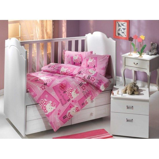 Бебешко спално бельо от 100% памук поплин - LITTLE SHEEP PEMBE от StyleZone