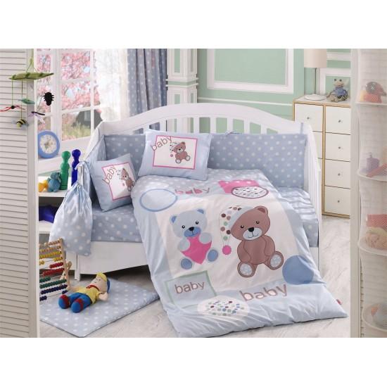 Бебешко спално бельо от 100% памук поплин - PONPON MAVI от StyleZone