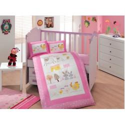 Бебешко спално бельо от 100% памук поплин - ZOO PEMBE от StyleZone