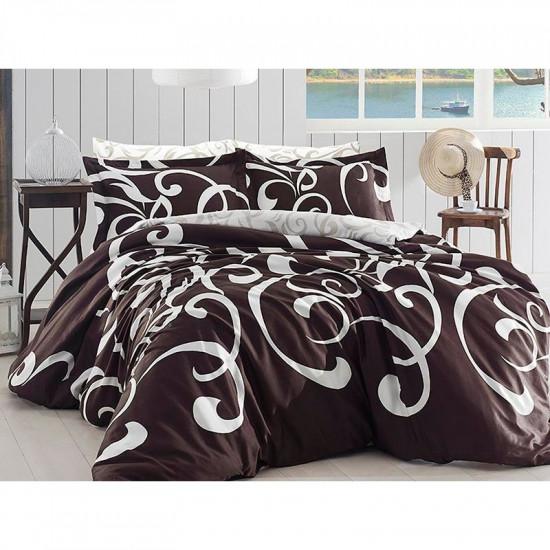 Спално бельо от сатениран памук с два плика -  RUYA KAHVE от StyleZone