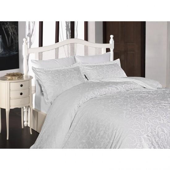 Спално бельо от сатениран памук с два плика -  SWETA BEYAZ от StyleZone