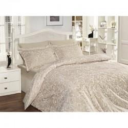 Спално бельо от сатениран памук с два плика -  SWETA EKRU от StyleZone