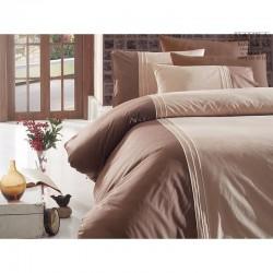 Спално бельо от сатениран памук с два плика -  CRAZE EKRU от StyleZone