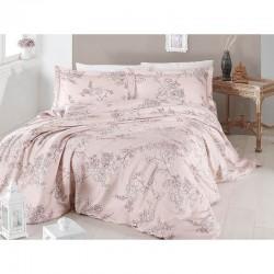 Спално бельо от сатениран памук с два плика - DOLARIS EKRU от StyleZone