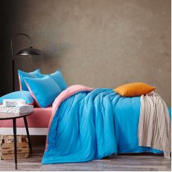 Двуцветно спално бельо от 100% памук ранфорс (бейби розово/синьо) от StyleZone
