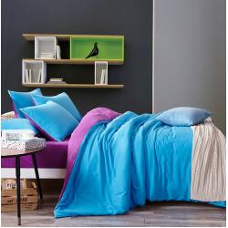 Двуцветно спално бельо от 100% памук ранфорс (лилаво/синьо) от StyleZone