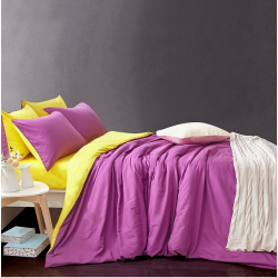 Двуцветно спално бельо от 100% памук ранфорс (лилаво/жълто) от StyleZone