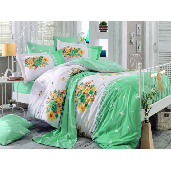 Луксозно спално бельо от 100% памук поплин - ALVIS WATER GREEN от StyleZone