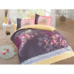Луксозно спално бельо от 100%  сатениран памук- Emilie Kahve от StyleZone