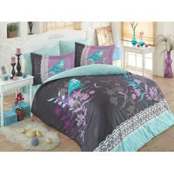 Луксозно спално бельо от 100%  сатениран памук- Emilia Gri от StyleZone