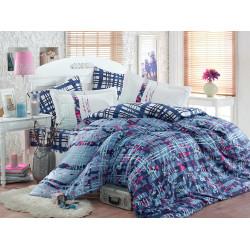 Луксозно спално бельо от 100%  сатениран памук- Lorenza Lacivert от StyleZone
