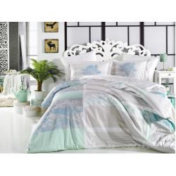 Луксозно спално бельо от 100%  сатениран памук- Elsa Aqua от StyleZone