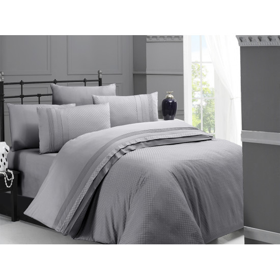 Спално бельо делукс сатен - SQUARE STYLE GRI от StyleZone