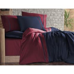 Двуцветно спално бельо на райета от сатениран памук - LACIVERT BORDO от StyleZone