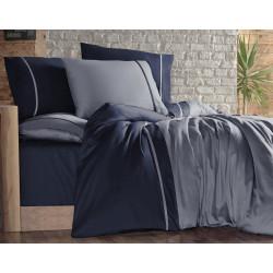 Двуцветно спално бельо на райета от сатениран памук - KOYU GRI LACIVERT от StyleZone