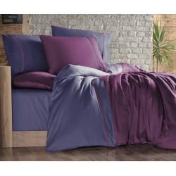 Двуцветно спално бельо на райета от сатениран памук - MOR INDIGO от StyleZone
