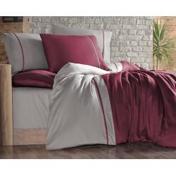 Двуцветно спално бельо на райета от сатениран памук - BORDO BEJ от StyleZone