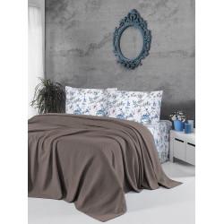 Памучно покривало за легло 3 в 1- ТЪМНОКАФЯВО от StyleZone