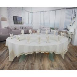 Луксозен Комплект - Покривка за маса с дантела - ШАМПАНСКО от StyleZone