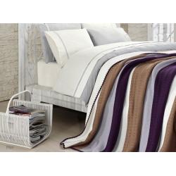 Спално бельо от 100% памук с плетено одеяло - BROWN STRIPES от StyleZone