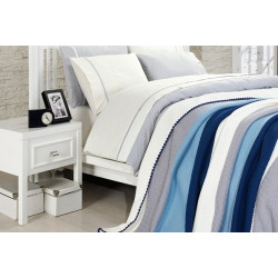 Спално бельо от 100% памук с плетено одеяло - BLUE STRIPES от StyleZone