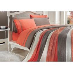 Спално бельо от 100% памук с плетено одеяло - ORANGE STRIPES от StyleZone