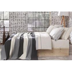 Спално бельо от 100% памук с плетено одеяло - GRAY STRIPES от StyleZone