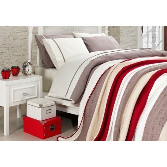 Спално бельо от 100% памук с плетено одеяло - BEIGE STRIPES от StyleZone