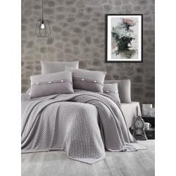 Спално бельо от 100% памук с плетено одеяло - GRAY STRIPS от StyleZone