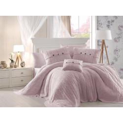 Спално бельо от 100% памук с плетено одеяло - PINK от StyleZone