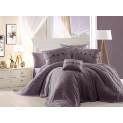 Спално бельо от 100% памук с плетено одеяло - DARK PURPLE от StyleZone