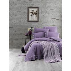 Спално бельо от 100% памук с плетено одеяло - PURPLE от StyleZone